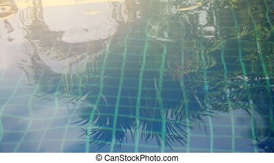 Sparkling Water loops in a swimming pool. 3840x2160. 4k -...