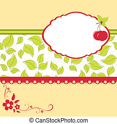 Blank template for cherry greetings card - Blank template...