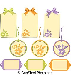Scrapbook elements. Collection of tags with bows