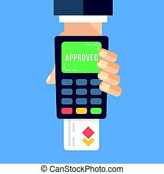 Hand holding payment terminal with inserted credit card and...
