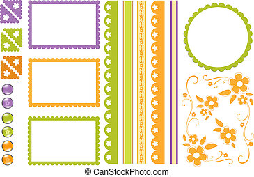 Scrapbook elements. Collection of decors