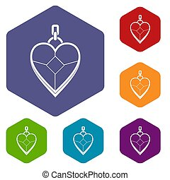 Heart shaped pendant icons set hexagon isolated illustration...