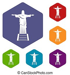 The Christ the Redeemer statue icons set hexagon