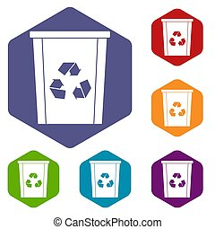 Trash bin with recycle symbol icons set hexagon