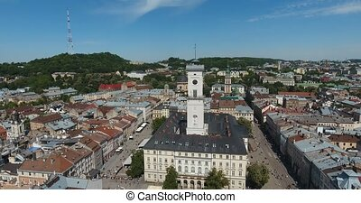 Aerial: Old City Lviv, Ukraine. Central Part of Old city....