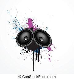 vector speakers - vector music speaker on grungy art