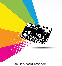 vector cassette on colorful background