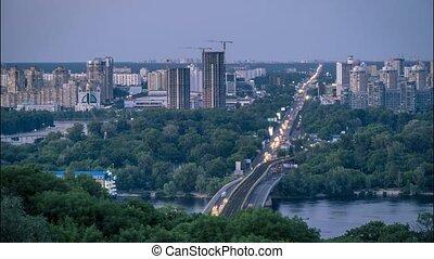 Metro Bridge in Kiev in Twilight