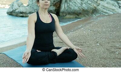 piedra, mujer, loto, Adulto, rocas, posición, Se sienta,...