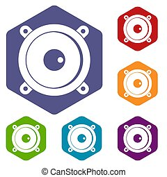 Audio speaker icons set hexagon isolated  illustration