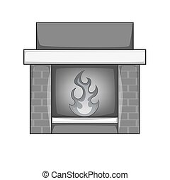 Fireplace icon monochrome - Fireplace icon in monochrome...