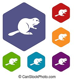 Canadian beaver icons set hexagon isolated  illustration
