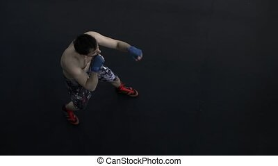 Top view handsome masculine athlete boxer mma fighter...