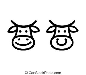 Cow face icon - Cute cartoon cow face icon, smiling and with...