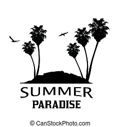 Summer paradise with tropical island and palm trees