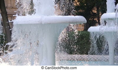 Water Fountain in the Park on the Embankment of Baku, Azerbaijan. Slow Motion