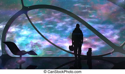 Astronaut With A Cat On A Spaceship - Silhouette of a man...