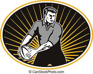 rugby player passing ball shield