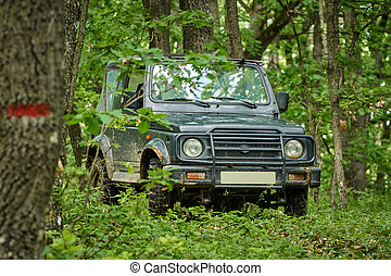 Small offroader in the forest - Small 4x4 offroad car in the...