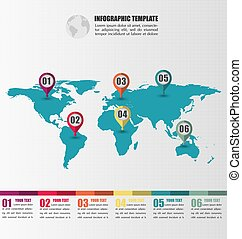 Flat World Map infographic Template With Number Pointer Marks, Infographic Concept