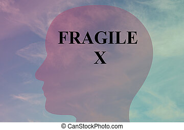 Fragile X concept - Render illustration of 'FRAGILE X' title...