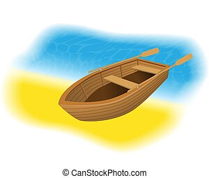 Wood rowboat with oars on the beach. Sailing boat with...