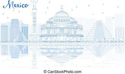 Outline Mexico skyline with blue buildings and reflections....