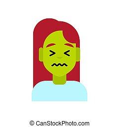 Profile Icon Female Emotion Avatar, Woman Cartoon Portrait Sad Green Face Feeling Sick