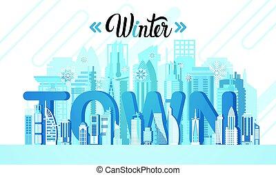 Winter Dubai City Skyscraper View Silhouette Cityscape Background Skyline