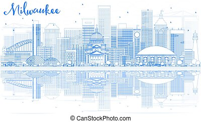Outline Milwaukee Skyline with Blue Buildings and Reflections.