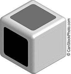 Dice concept black or white in 3D, vector