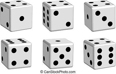 Dice white set in 3D view, vector