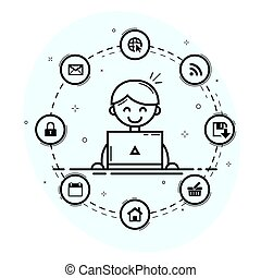 User at workplace icons - Computer user with laptop and...