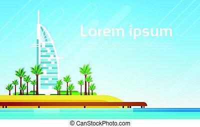 Dubai City Skyscraper View Cityscape Background Sea Landscape with Copy Space