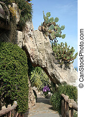 Exotic garden in Monaco - Exotic garden with cactuses and...