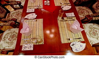 Closeup Restaurant Brown Table Laid for Dinner in Hotel -...