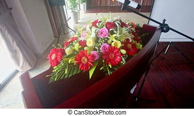 Special Table with Greeting Bouquet at Restaurant Entrance -...