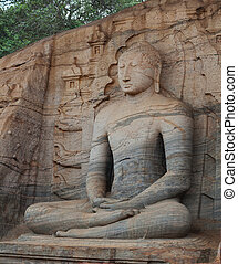Gal Vihara Buddhist Statue carved from rock. Polonnaruwa,...