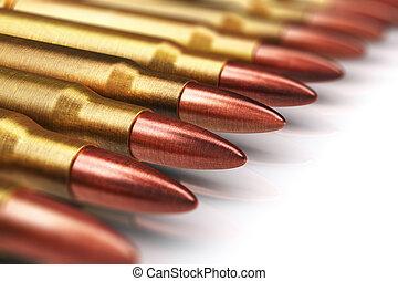 Row of rifle gun bullets - Creative abstract war and...