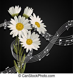 Daisies with music notes. - Vector illustration with music...