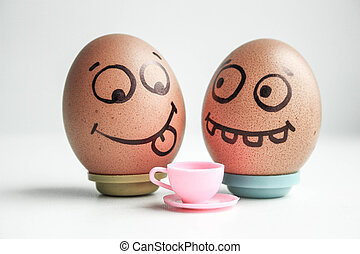 diet. Funny eggs with painted face concept. On white photo....
