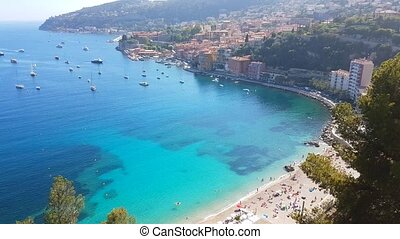 Aerial View Of Villefranche-sur-Mer In The French Riviera, France