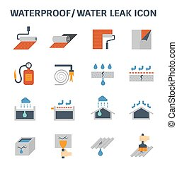 waterproofing vector icon - Waterproofing and water leaked...
