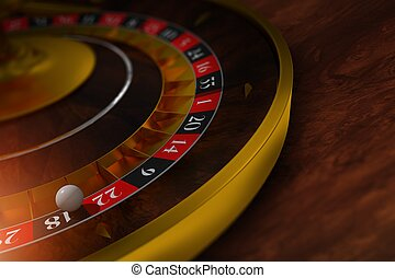 Elegant Roulette Wheel Closeup 3D Rendered Illustration....