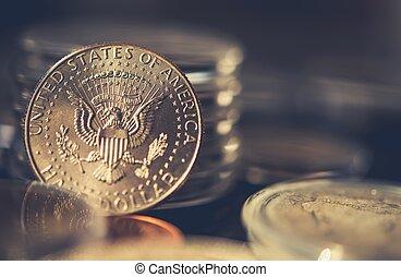 Collectible Half Dollar Coin Closeup Photo. Collecting...