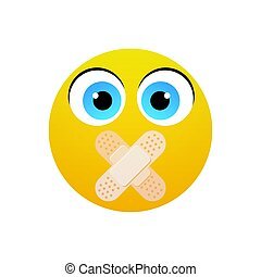 Yellow Cartoon Face Silent Not Speaking People Emotion Icon...