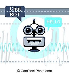 Free Chat Bot Says Hello, Robot Virtual Assistance Element Of Website Or Mobile Applications, Artificial Intelligence Concept