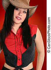 Country Western Cowgirl - Female wearing a rugged leather...