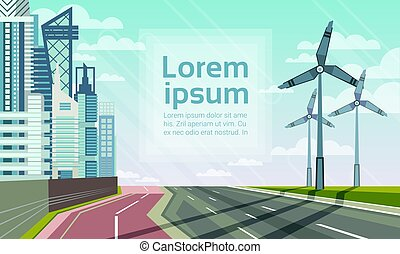 Wind Turbine Tower Over City Landscape Alternative Energy...