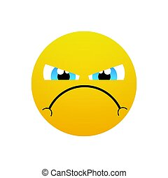 Yellow Cartoon Face Angry People Emotion Icon Flat Vector...